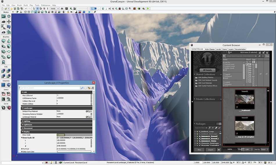 USGS elevation data converted with TerreSculpt and imported into Unreal Developers Kit - UDK3