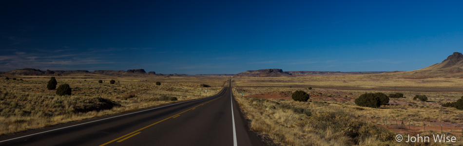 Highway 77 heading north through the Navajo Reservation in Arizona