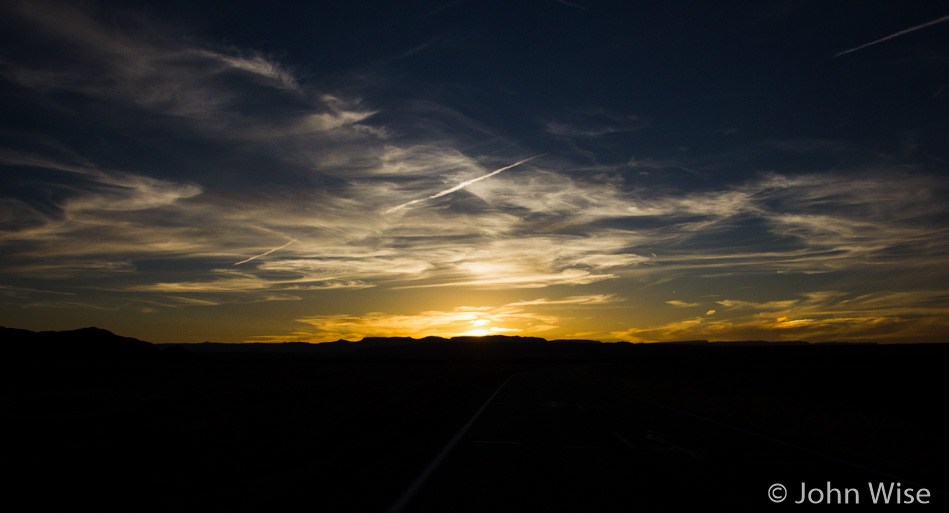 Sunset on the Navajo Reservation in northern Arizona