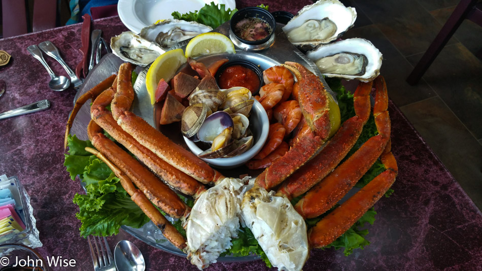 Seafood tower at the Pump House in Fairbanks, Alaska