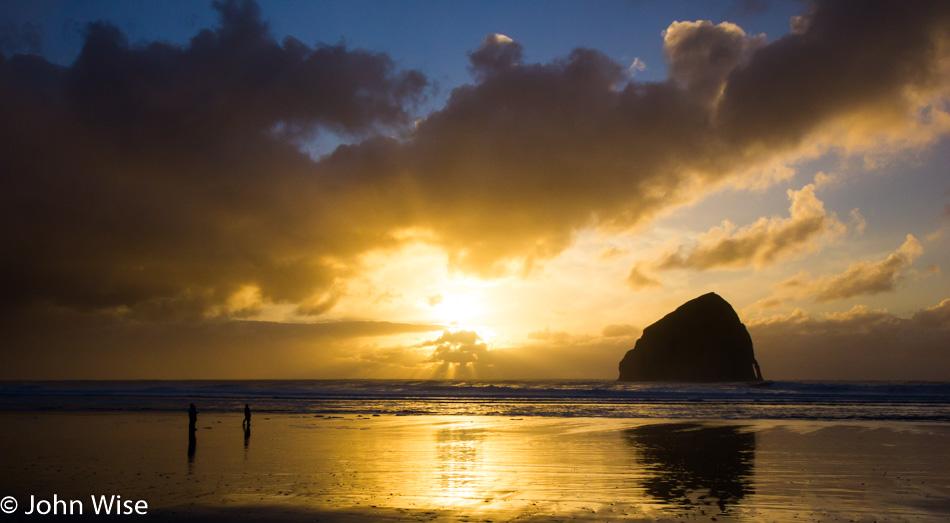 The sun setting on the western edge of America