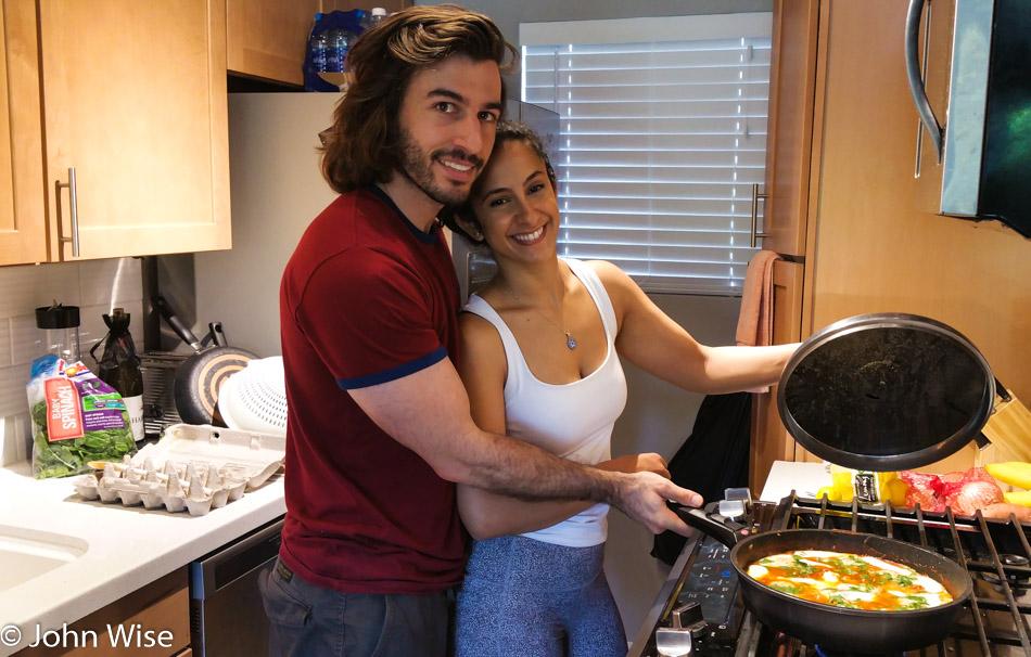 Itay and Rotem in Arizona making shakshuka
