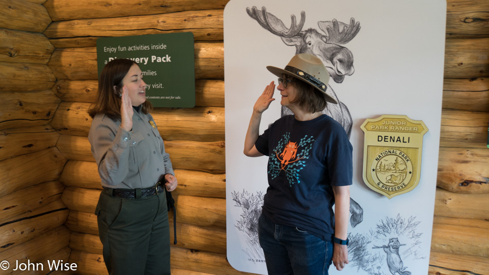 Caroline Wise earning her Junior Ranger badge at Danali National Park in Alaska