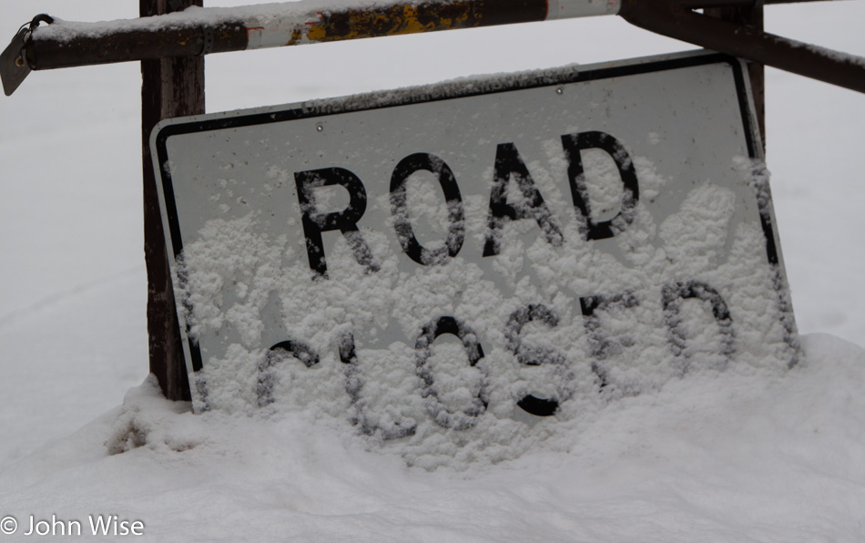 Road Closed Sign During Winter in Yellowstone National Park