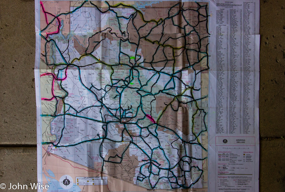Arizona Road Map of Our Travels – John Wise