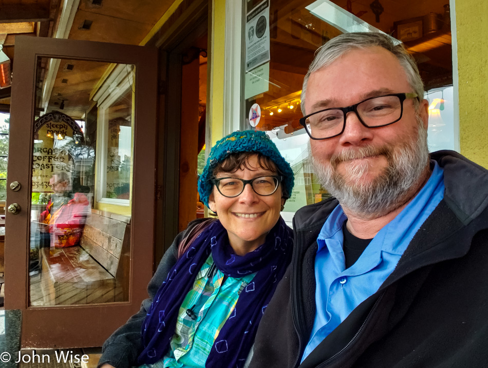 Caroline Wise and John Wise at Sleepy Monk coffee in Cannon Beach, Oregon