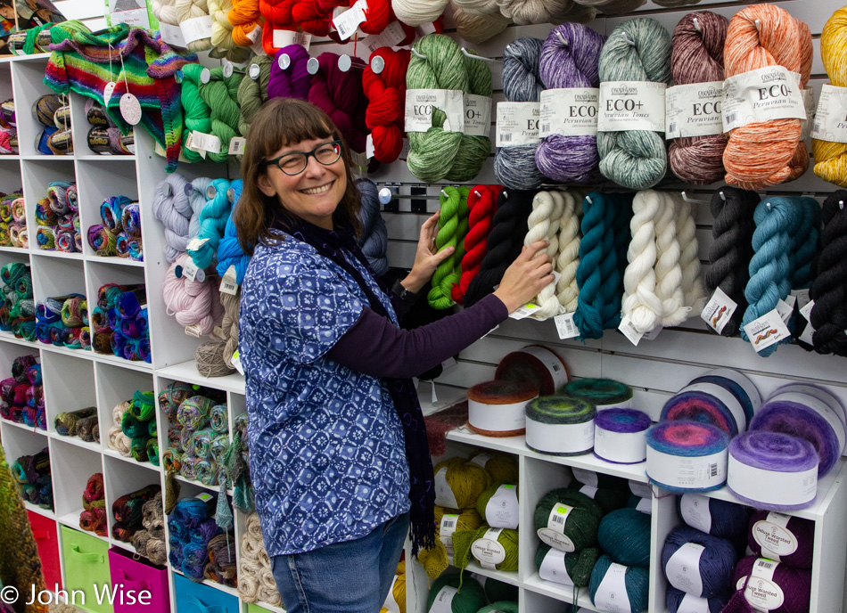 Caroline Wise at By My Hand Fabric and Yarn Store in Brookings, Oregon