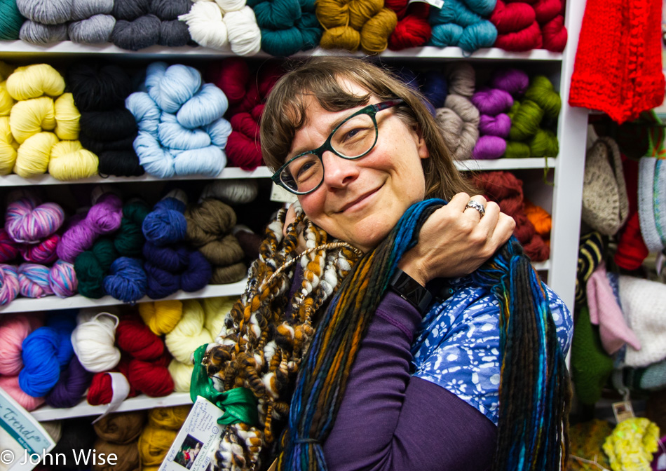 Caroline Wise at The Wool Company in Bandon, Oregon