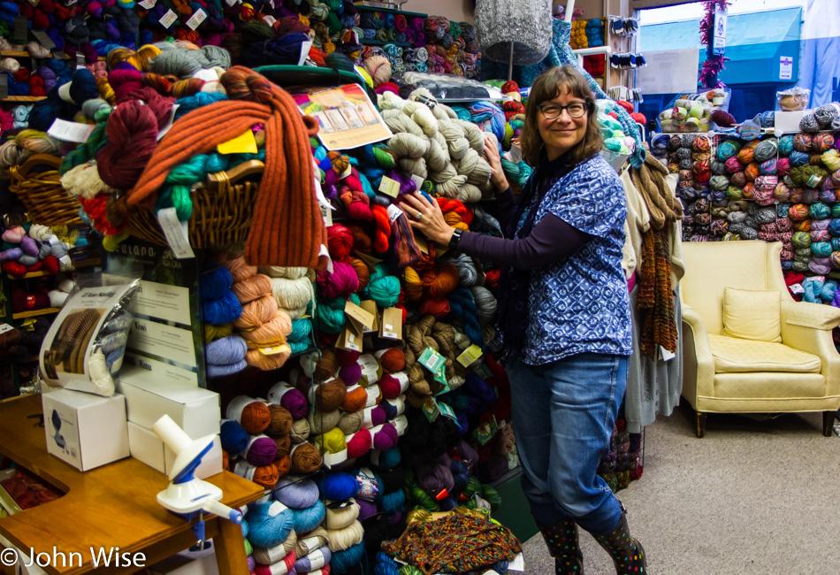 Caroline Wise at My Yarn Shop in Coos Bay, Oregon